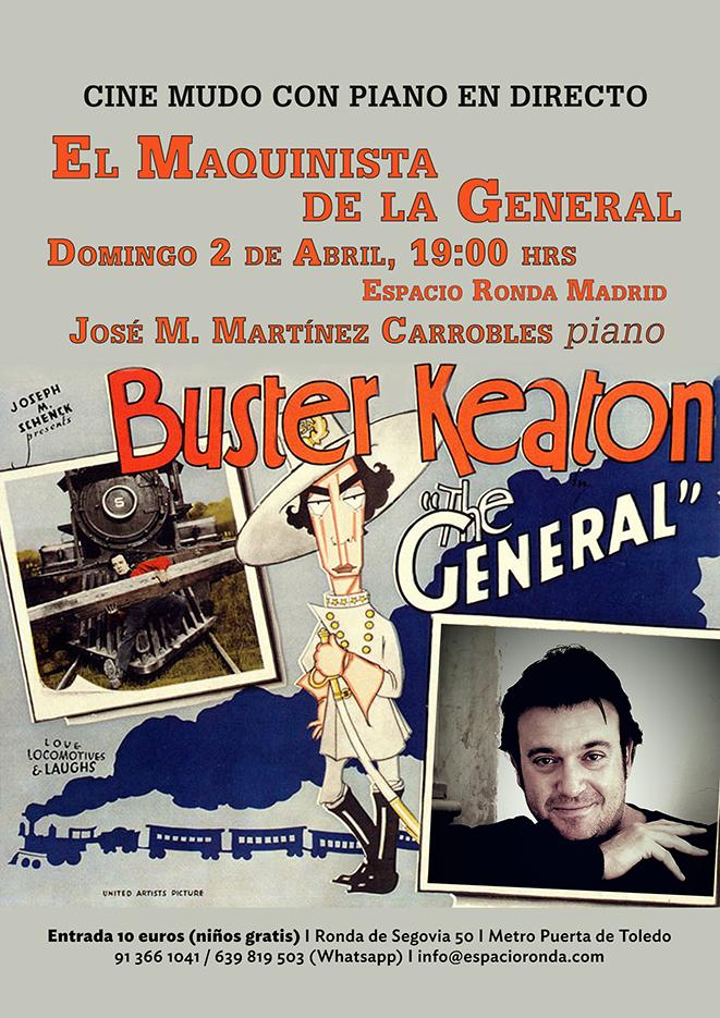 """Proyección de cine mudo con piano improvisado """"El Maquinista de la General"""" de Buster Keaton"""