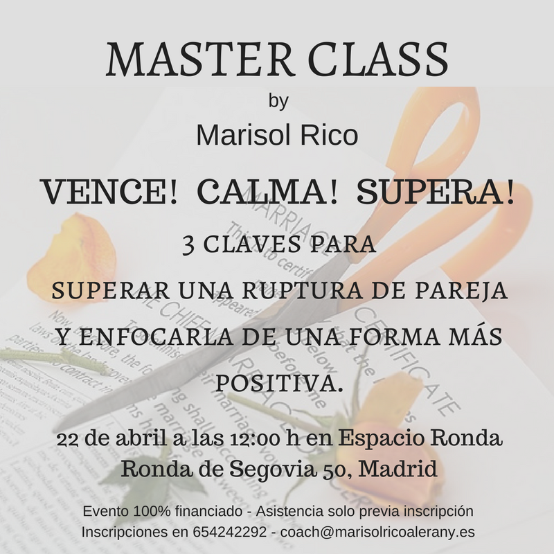"Master Class ""Vence! Calma! Supera!"" de Marisol Rico"