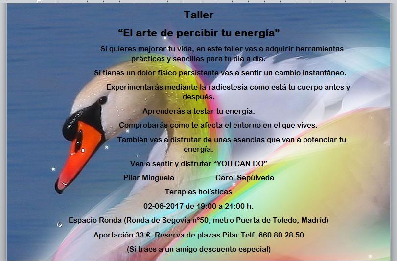 """Taller """"El arte de percibir tu energía"""""""