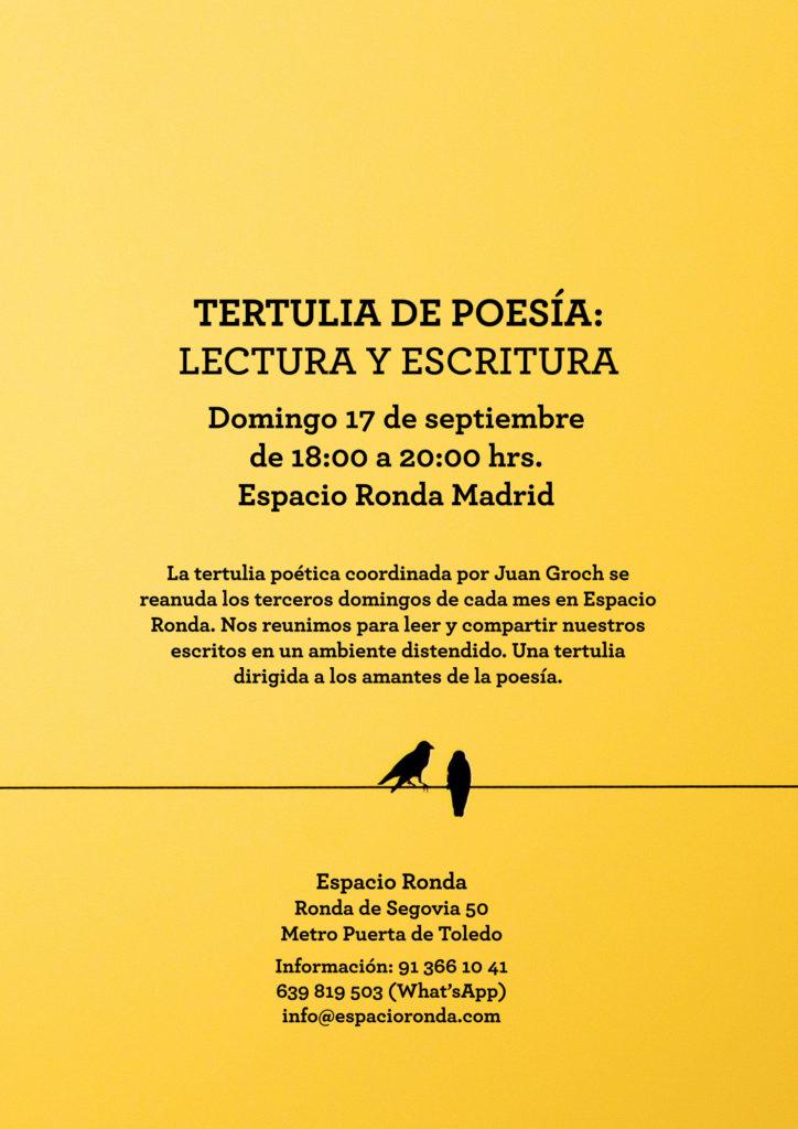"""""""Ven a compartir tus poemas…"""" Tertulia de Poesía: Escritura y Lectura"""