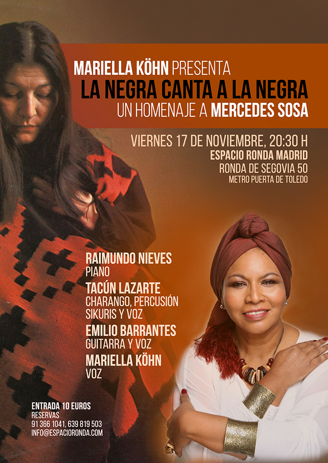 """Mariella Köhn presenta """"La Negra canta a la Negra: Un homenaje a Mercedes Sosa"""""""