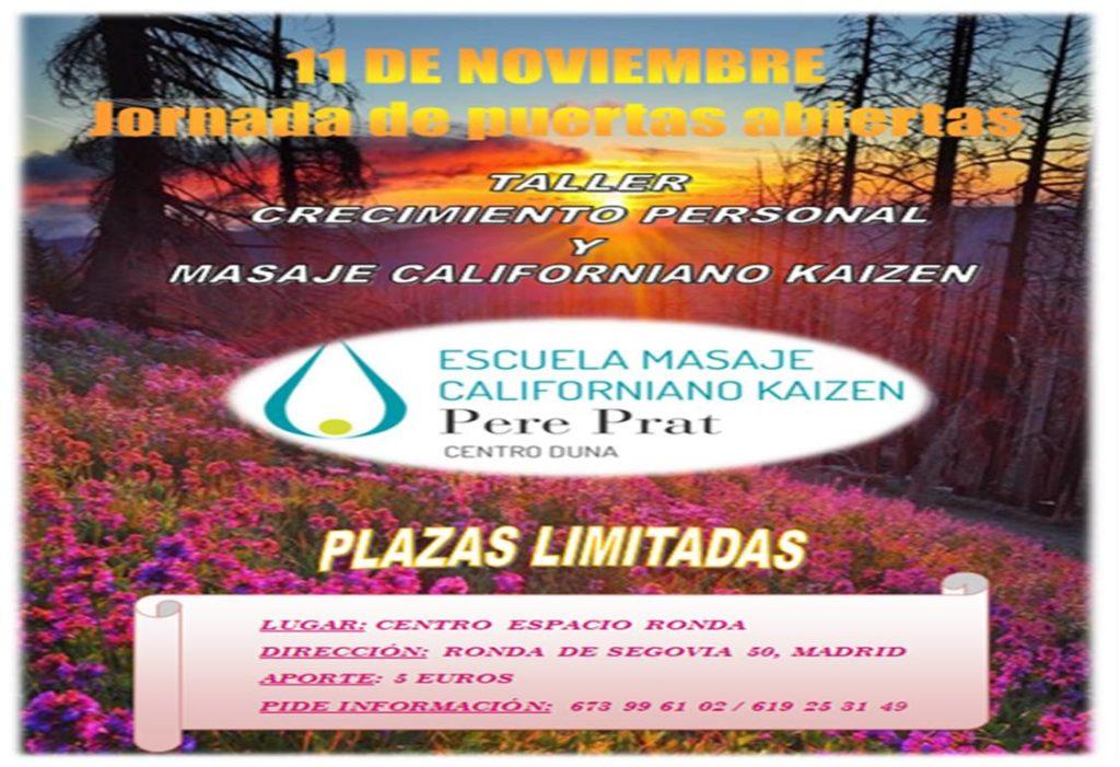 Taller de Crecimiento personal y masaje californiano Kaizen