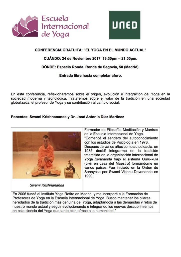 """Conferencia Gratuita """"El Yoga en el Mundo Actual"""""""