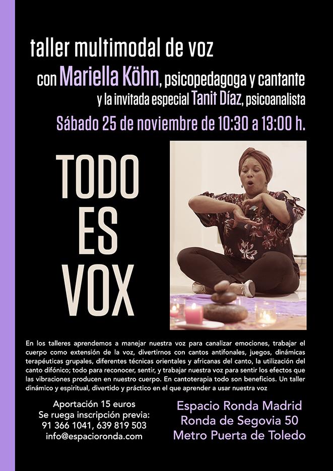 """Taller multimodal de voz """"Todo es Vox"""" con Mariella Köhn y profesionales invitados"""