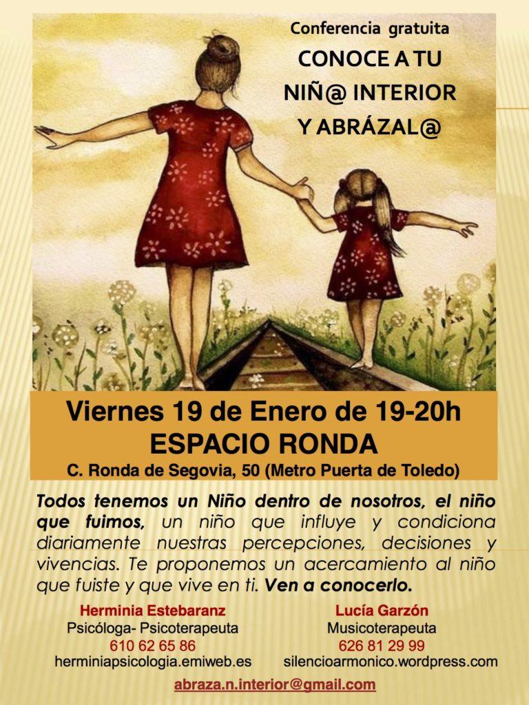 """Conferencia gratuita """"Conoce a tu niñ@ interior y abrázal@"""""""