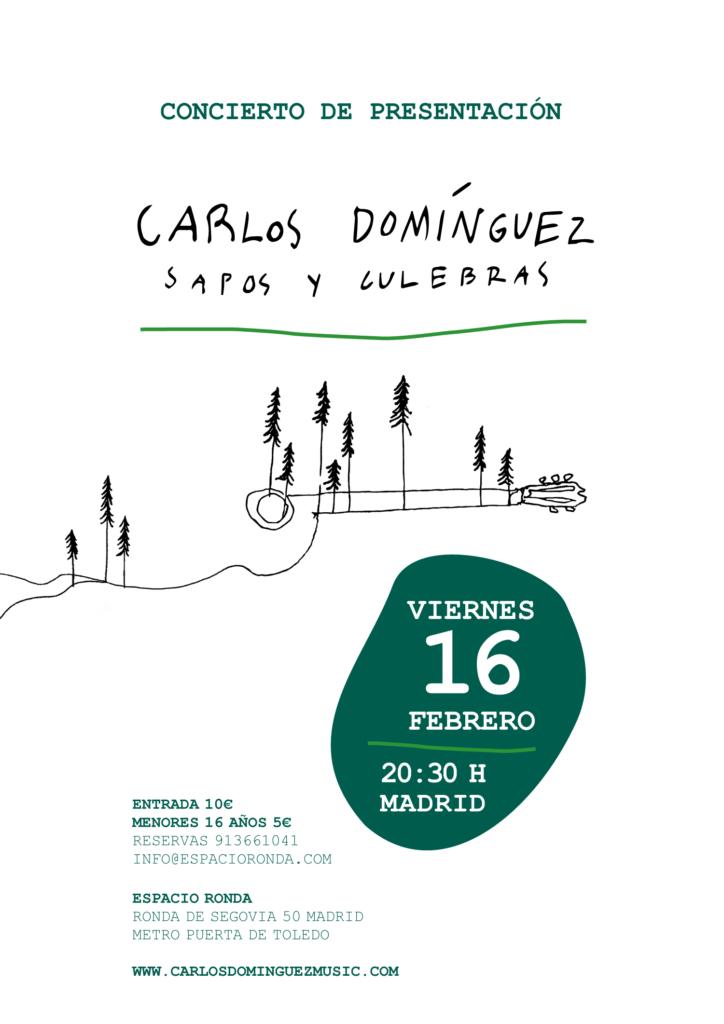 """Concierto de presentación del disco """"Sapos y culebras"""" con el guitarrista Carlos Domínguez"""