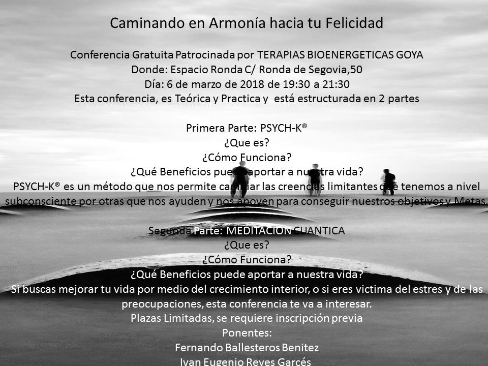 """Conferencia """"Caminando en Armonía hacia tu Felicidad"""""""