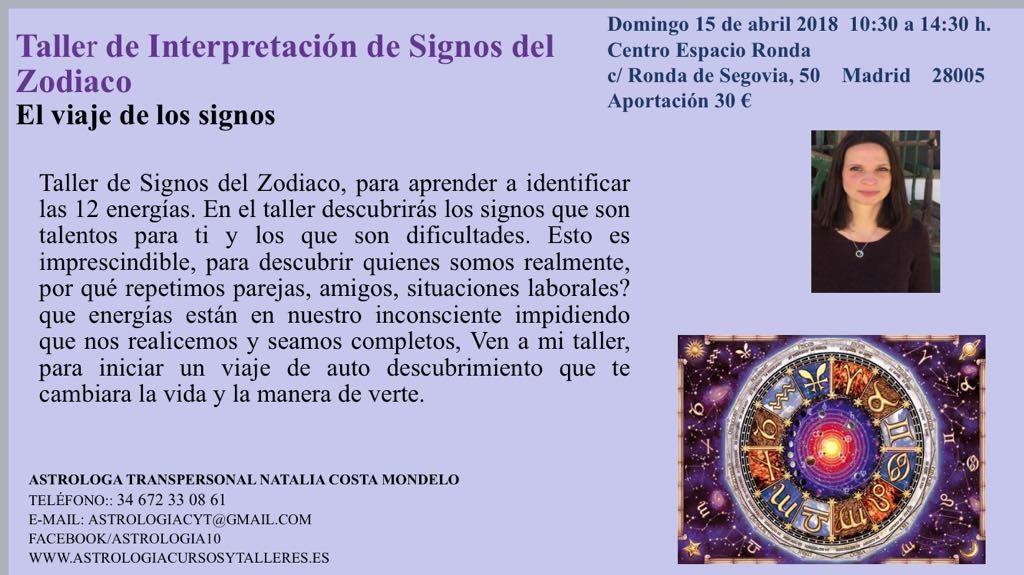 """Taller Astro-Lógico """"El viaje de los signos"""" con Natalia Costa"""