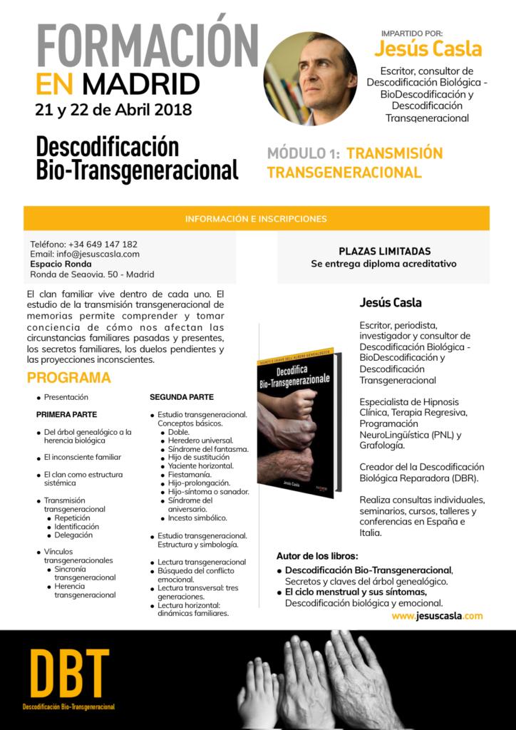 """Descodificación Bio - Transgeneracional """"Módulo 1: Transmisión Transgeneracional"""""""