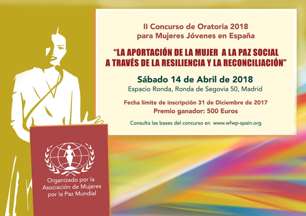 """II Concurso de Oratoria 2018 """"La aportación de la mujer a la paz social a través de la resiliencia y la reconciliación"""""""