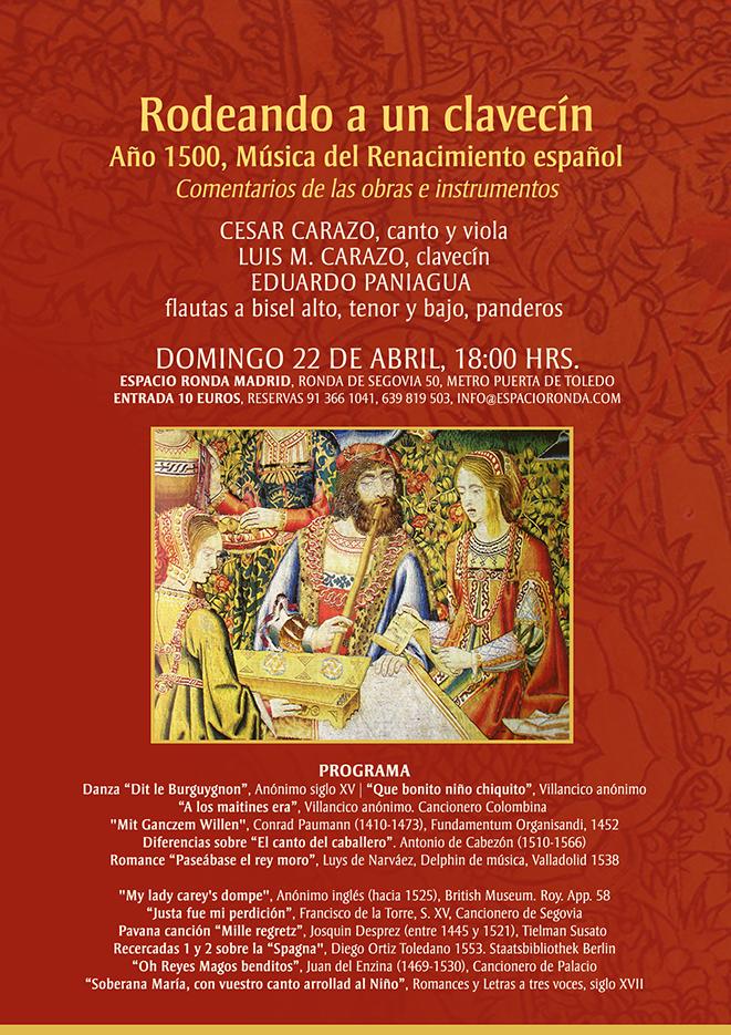 """""""Rodeando a un Clavecín"""" Año 1500 - Música del Renacimiento Español"""