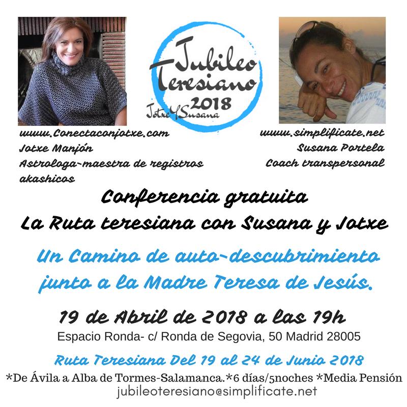 """Conferencia gratuita """"La Ruta Teresiana"""" con Susana y Jatxe"""