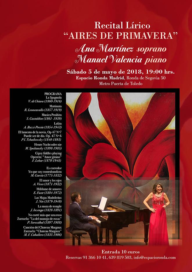 """Recital Lírico """"Aires de Primavera"""" Con Ana Martínez y Manuel Valencia"""