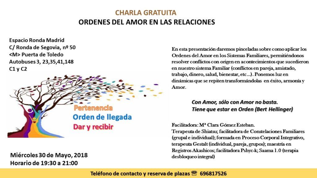 """Charla gratuita """"Ordenes del amor en las relaciones"""""""