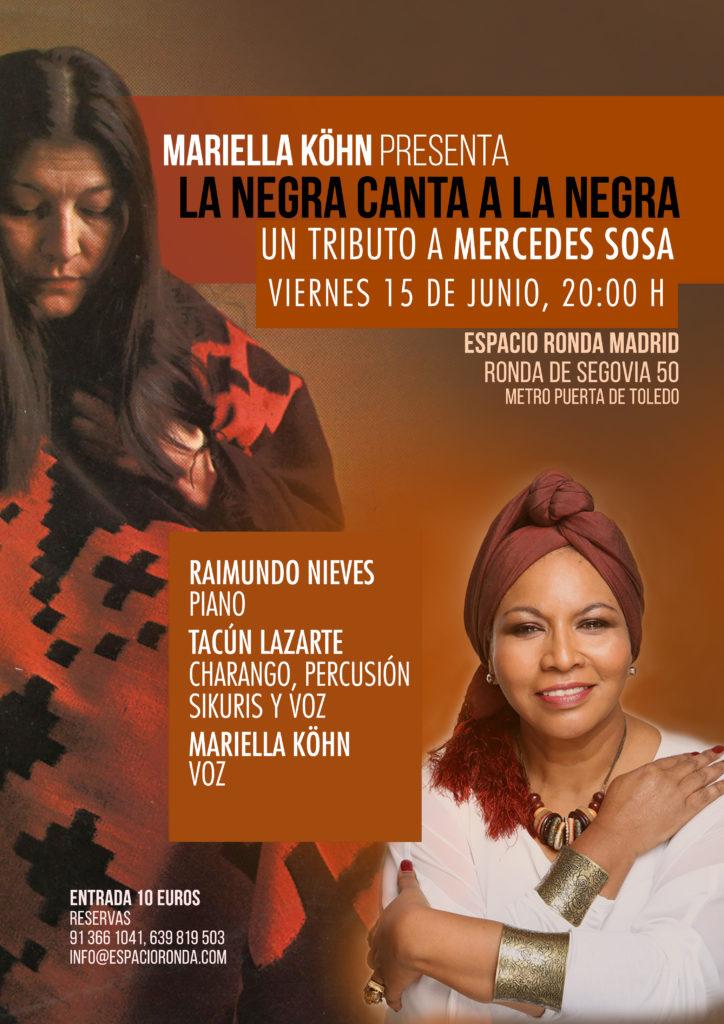"""Mariella Köhn presenta """"La negra canta a la negra"""" un tributo a Mercedes Sosa"""