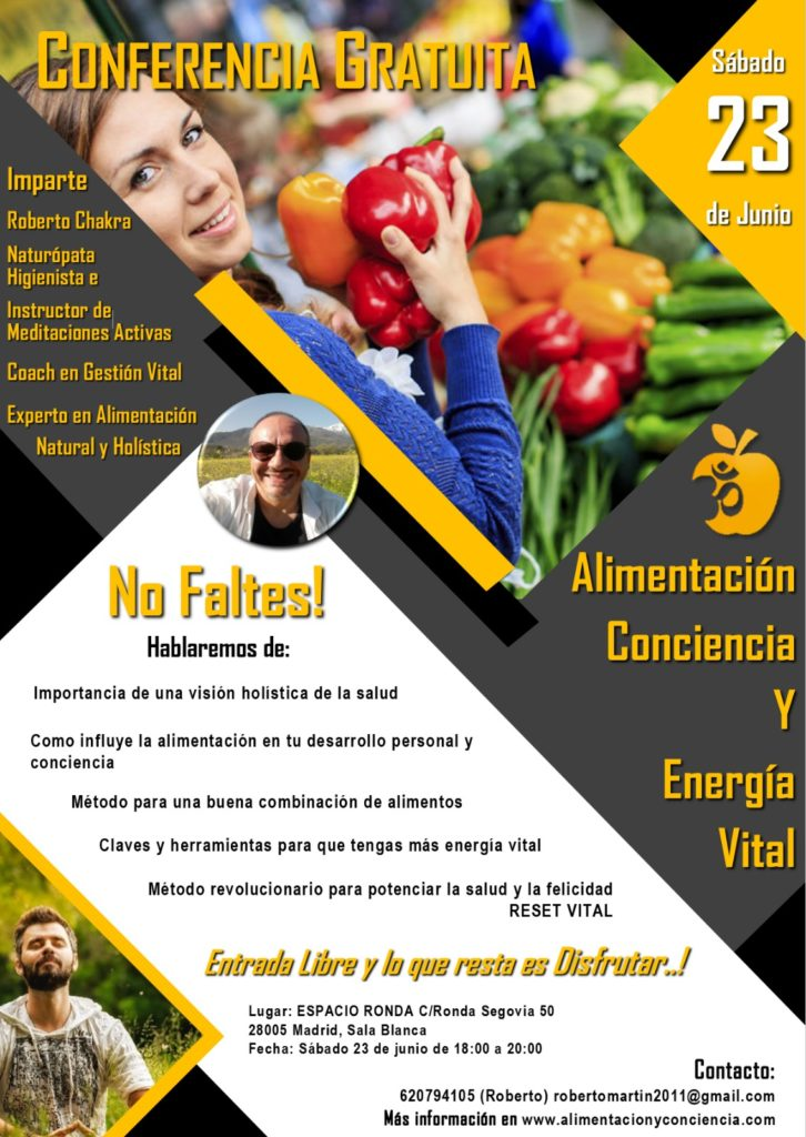 """Conferencia Gratuita """"Alimentación, conciencia y energía vital"""""""