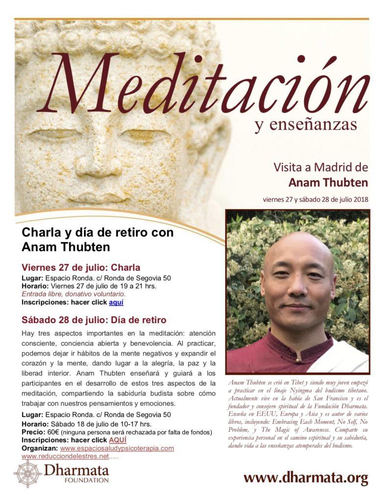 """Charla """"Meditación y enseñanzas"""" Visita a madrid de Anam Thubten"""