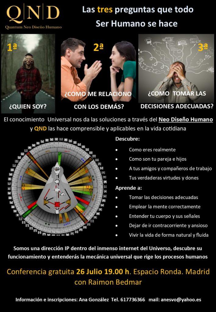 """Conferencia gratuita en Madrid """"Quantum Neo Diseño Humano"""""""
