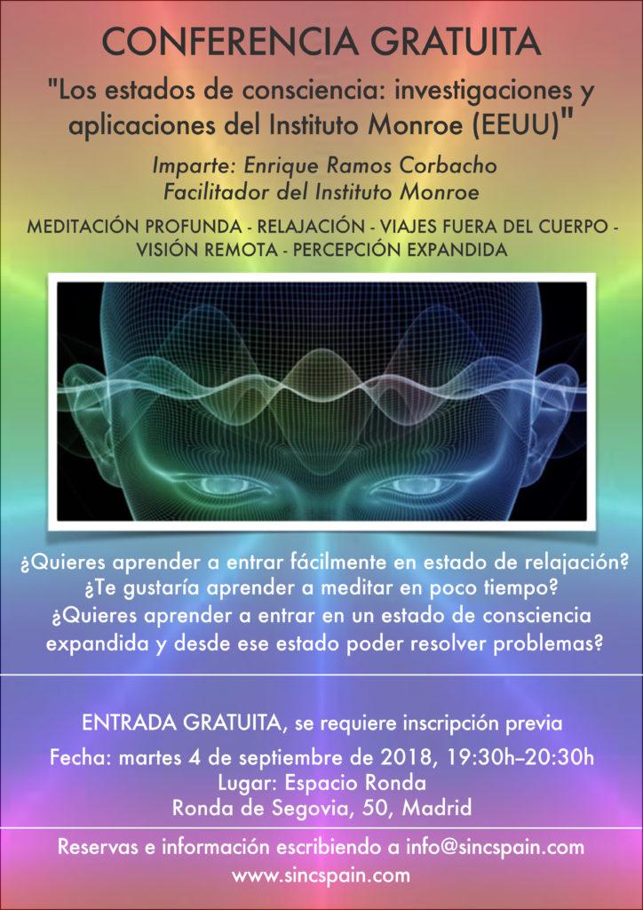 """Conferencia Gratuita """"Los estados de consciencia: investigaciones y aplicaciones del Instituto Monroe"""""""