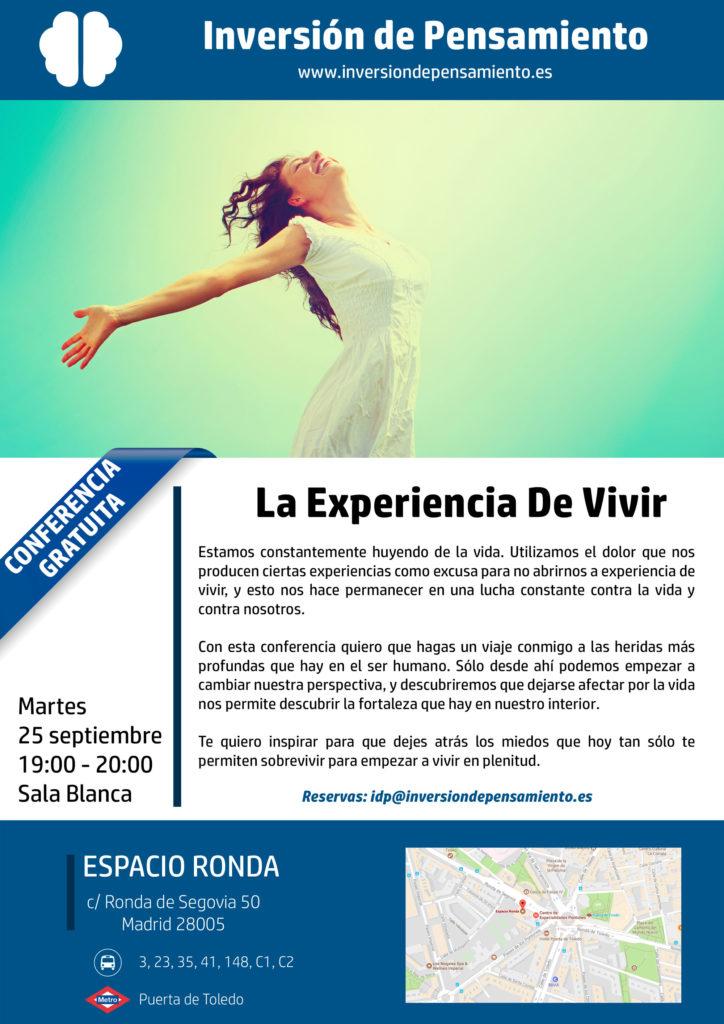 """Conferencia gratuita """"La experiencia de vivir"""""""