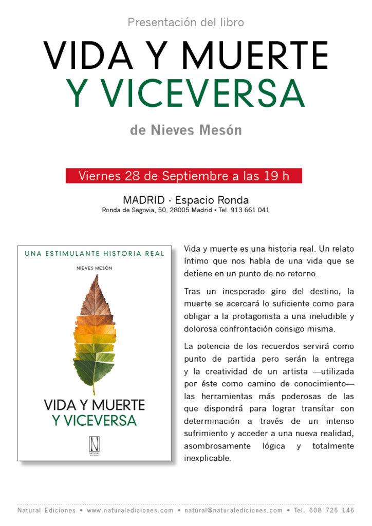 """Presentación del libro """"Vida y muerte y viceversa"""" de Nieves Mesón"""