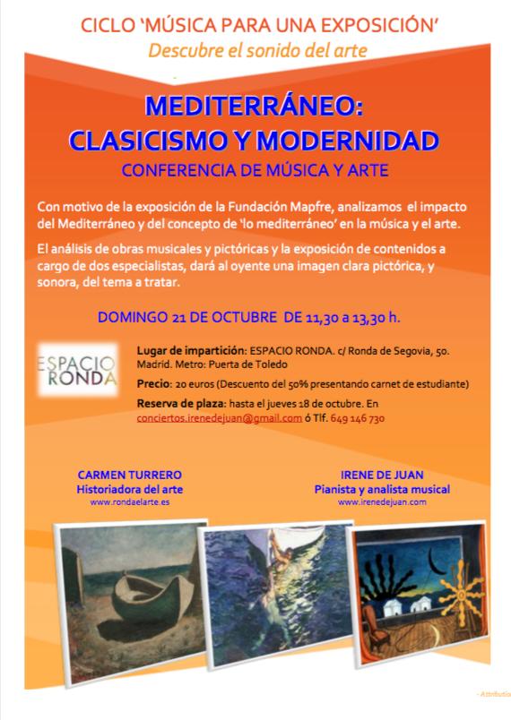 """""""Mediterráneo - clasicismo y modernidad"""" Conferencia de música y arte"""
