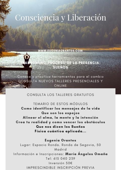 """Taller """"Consciencia y Liberación""""basado en: El Proceso de la Presencia, Transurfing e Interpretación de Sueños.1er. Ciclo. 6º Módulo"""