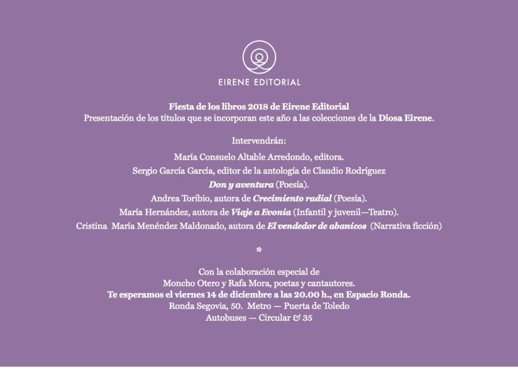 Fiesta de los libros 2018 de Eirene Editorial