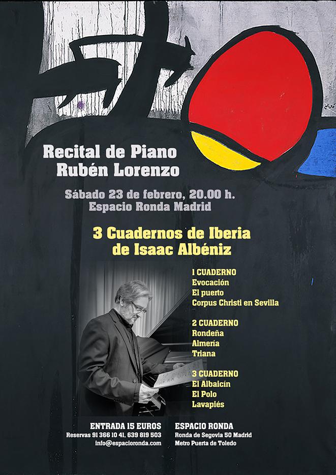 """Recital de Piano """"Tres cuadernos de Iberia de Albéniz"""" de Rubén Lorenzo"""
