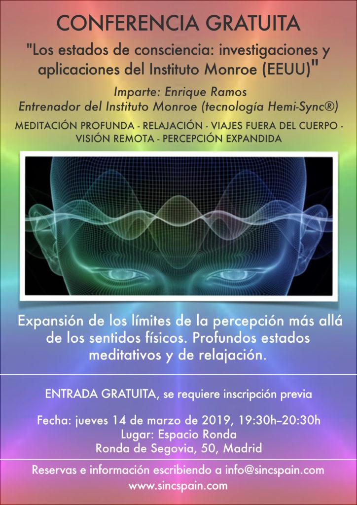 """Conferencia gratuita """"Los estados de consciencia - investigaciones y aplicaciones del Instituto Monroe (EEUU)"""""""