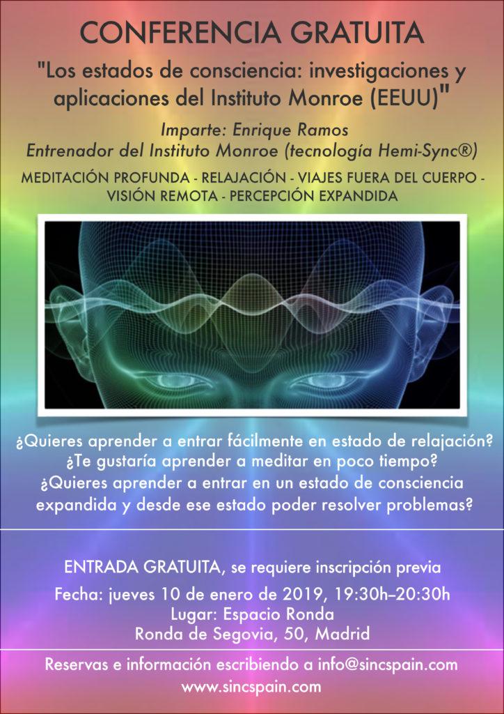 """Conferencia gratuita """"Los estados de consciencia: investigaciones y aplicaciones del Instituto Monroe (EEUU)"""""""