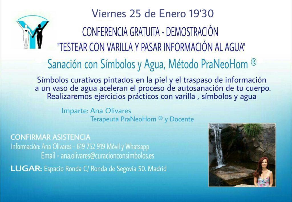 """Conferencia gratuita """"Testear con varilla y pasar información al agua"""""""
