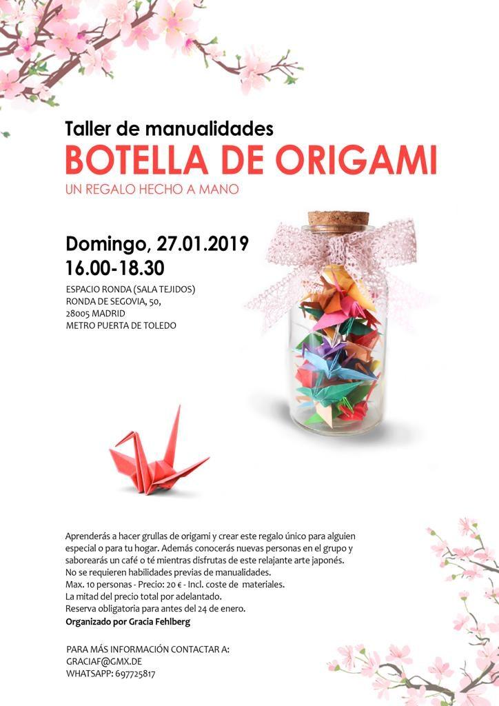 """Taller de manualidades - Botella de Origami """"Un regalo hecho a mano"""""""