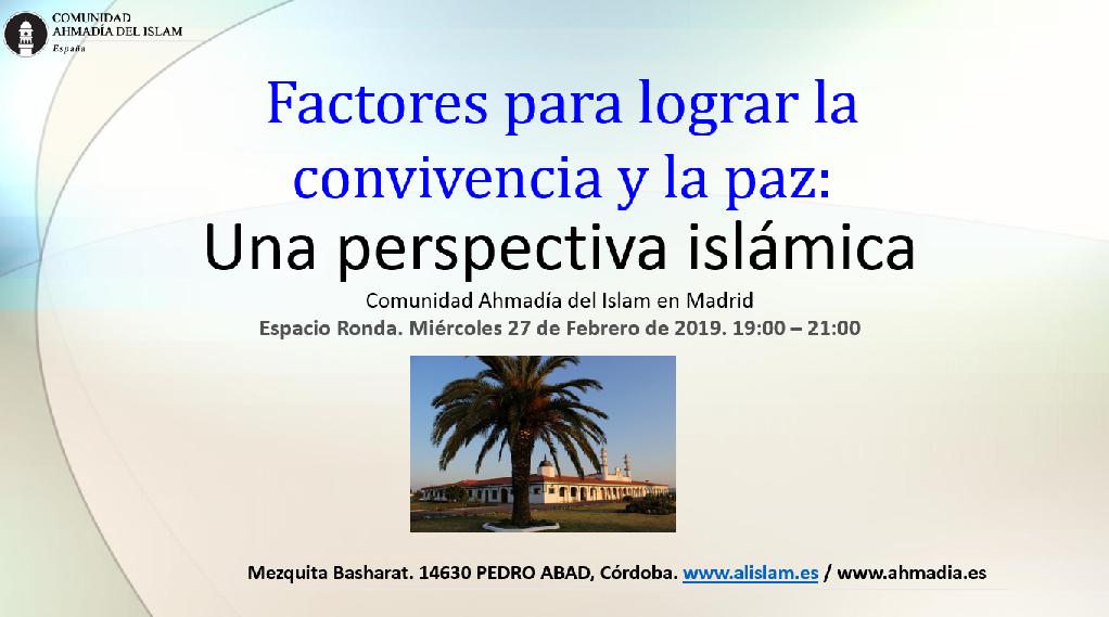 """Charla - coloquio """"Factores para una convivencia pacífica: Una perspectiva islámica"""""""