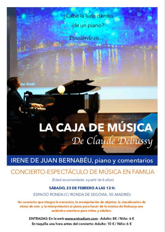 """Concierto-espectáculo de música en familia """"La caja de música de Claude Debussy"""""""