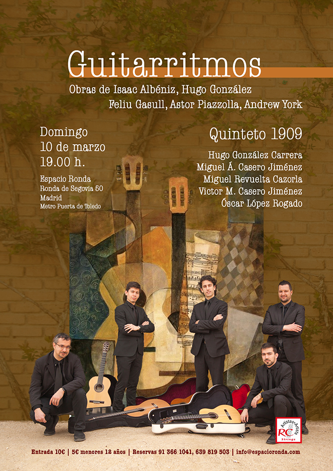 """""""Guitarritmos"""" Concierto de guitarras a cargo del Quinteto 1909"""