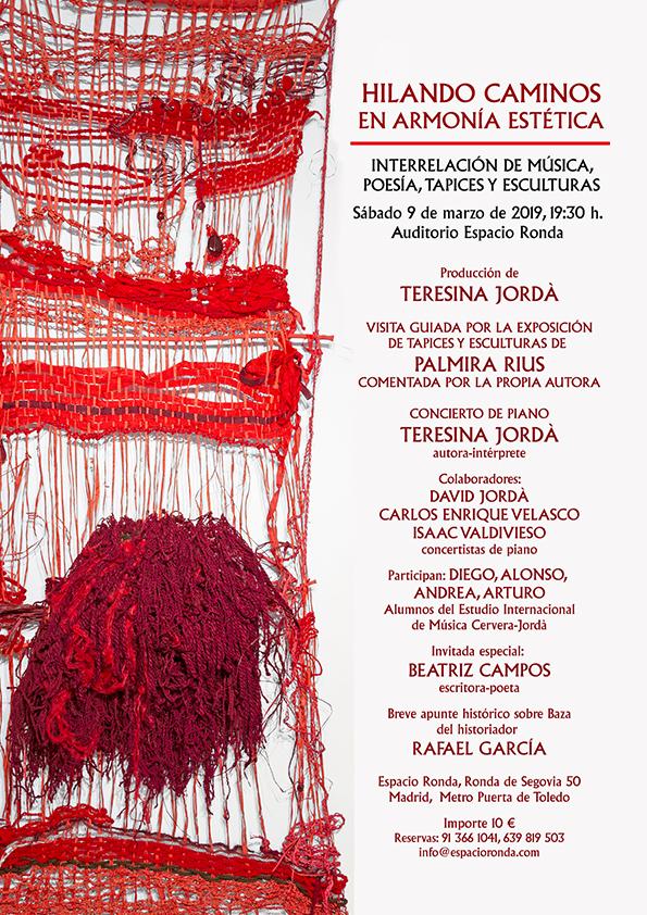 """""""Hilando Caminos En Armonía Estética"""" Interrelación de músicos, Poesía, Tapices y Esculturas"""