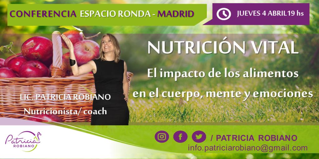 Conferencia de Bienestar - Nutrición vital, el impacto de los alimentos en tu cuerpo, mente y emociones