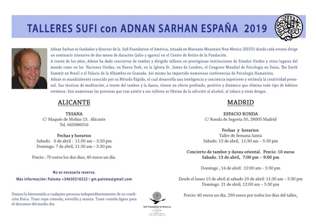 Talleres sufi en España con Adnan Sarhan