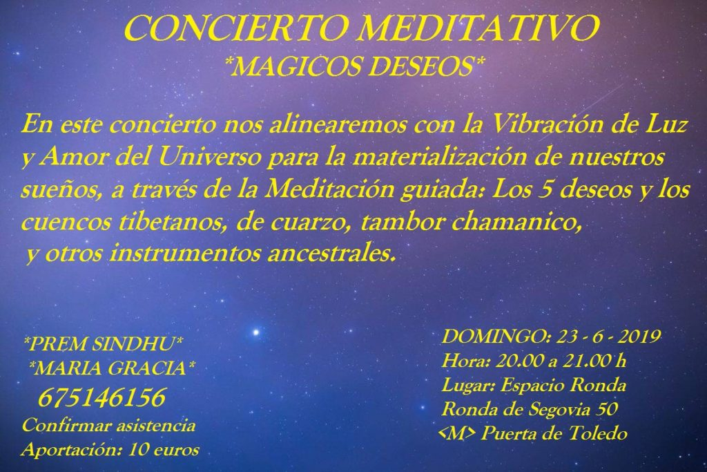 """Concierto Meditativo con María Gracia y Prem Shindhu """"Mágicos Deseos"""""""