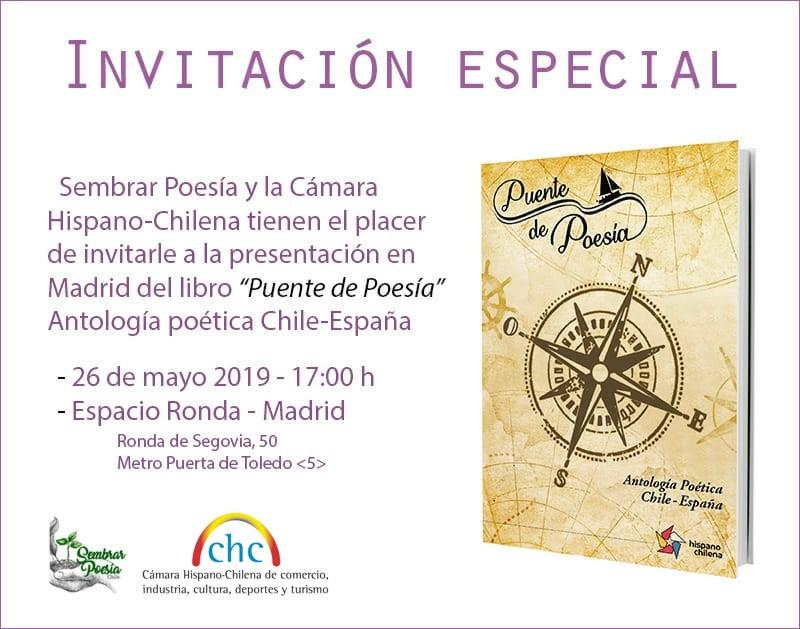"""Presentación del libro """"Puente de Poesía"""" Antología poética Chile-España"""