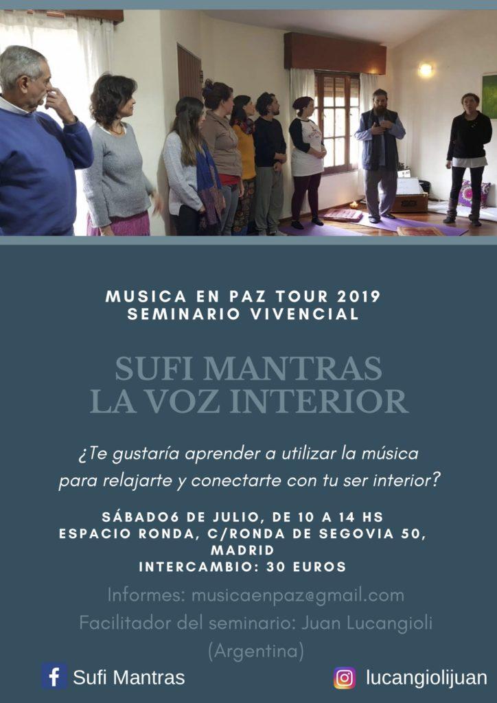 """Seminario """"Sufi mantras y la voz interior"""" con Juan Lucangioli"""