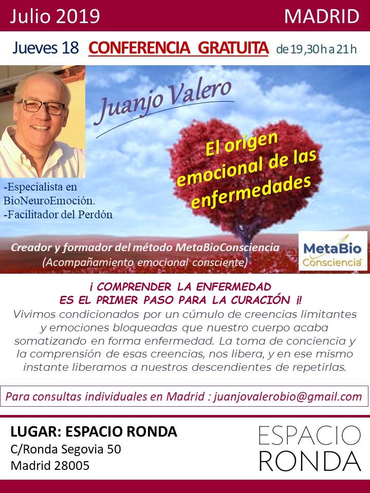 """Conferencia gratuita """"El origen emocional de las enfermedades"""" con Juanjo Valero"""