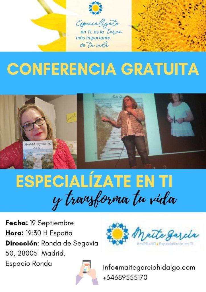 """Conferencia gratuita """"Especialízate en ti y transforma tu vida"""""""
