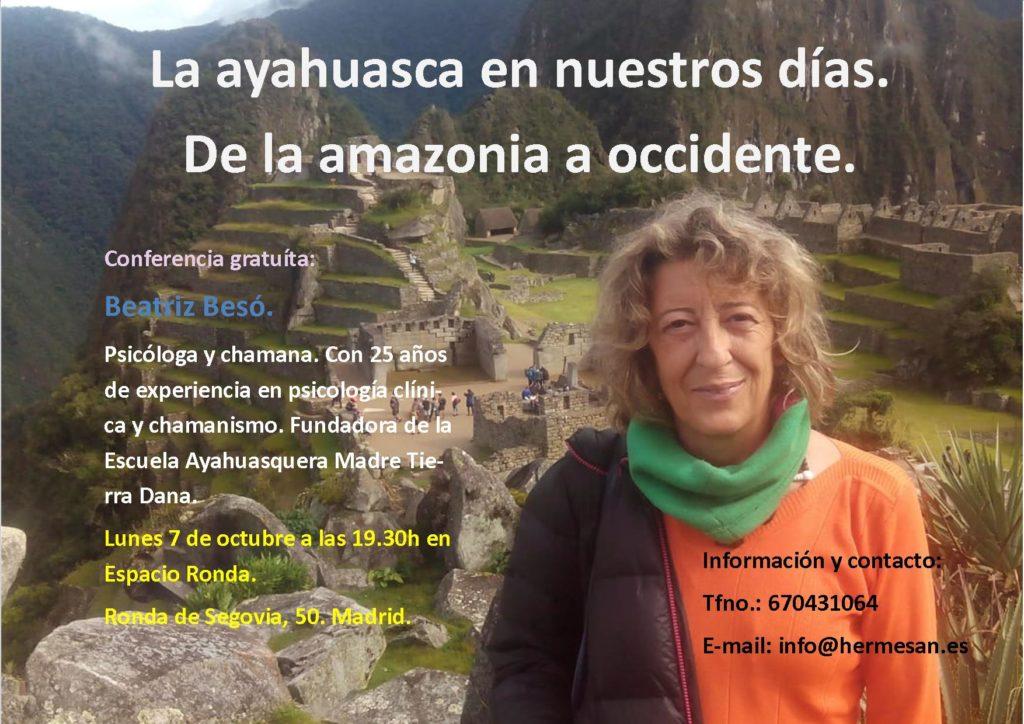 """Conferencia gratuita """"La ayahuasca en nuestros días, de la amazonia a occidente"""" con Beatriz Besó"""