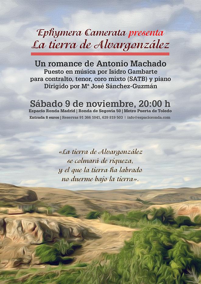 """Ephymera Camerata presenta """"La tierra de Alvargonzález"""" Un romance de Antonio Machado"""