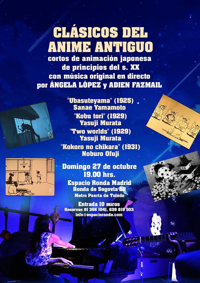 """""""Clásicos del Anime Antiguo"""" Proyección de cortos de animación japonesa con Música original en directo por Ángela Lopez y Adien Fazmail"""