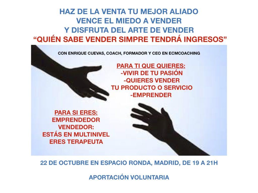 """Conferencia """"Quien sabe vender siempre tendrá ingresos"""" con Enrique Cuevas"""