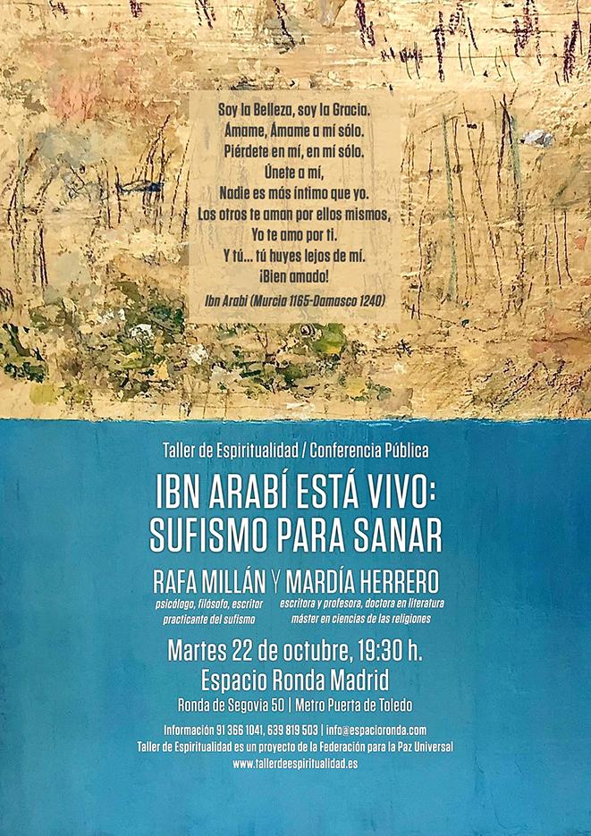 """Conferencia Pública """"Ibn Arabí está vivo: Sufismo para sanar"""" por Rafa Millán y Mardía Herrero"""
