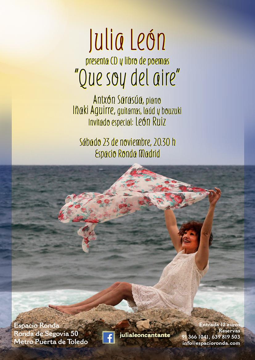 """Julia León presenta CD y libro de poemas """"Que soy del Aire"""""""